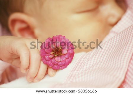 Sleeping baby with pink flower - stock photo