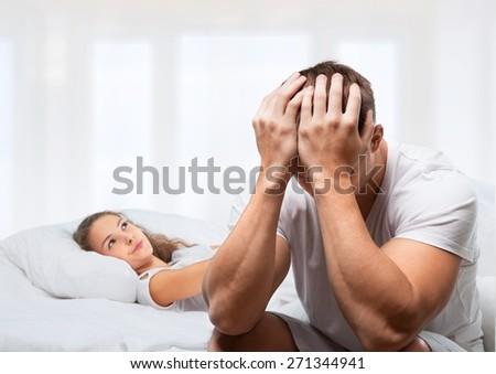 Sleeping, Bed, Couple. - stock photo