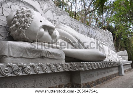 Sleeping Buddha at the Long Son Pagoda in Nha Trang. Vietnam