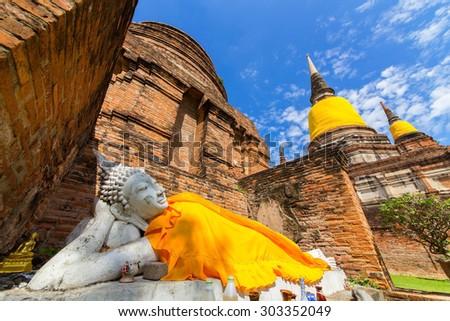 Sleeping Buddha Buddha, a World Heritage Site with beautiful sky. - stock photo