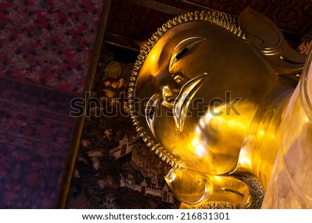sleeping buddha sculpture details