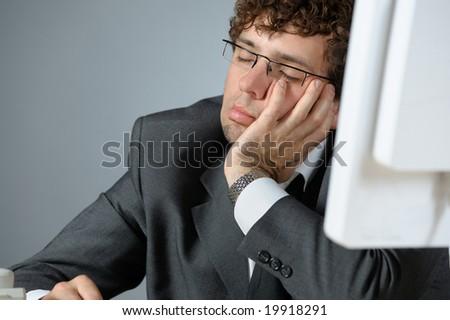 sleeping businessman - stock photo