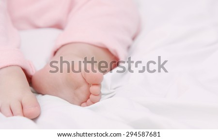 sleeping cute baby, maternity concept, soft image of beautiful family - stock photo