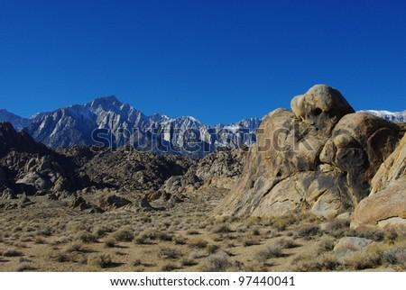 Sleeping ghost, Alabama Hills, Mt Whitney and Sierra Nevada, California - stock photo