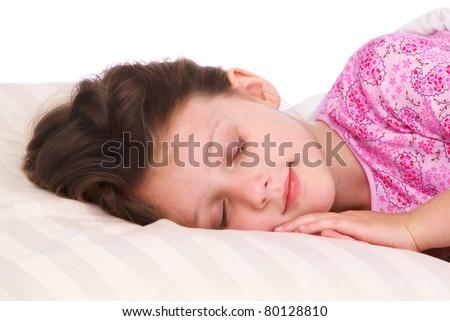 Sleeping little girl - stock photo