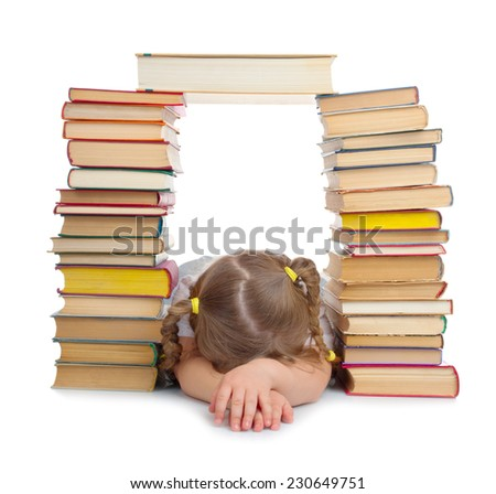 Sleeping little girl with books isolated - stock photo