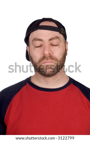sleeping male baseball fan with baseball hat and t-shirt, over white - stock photo