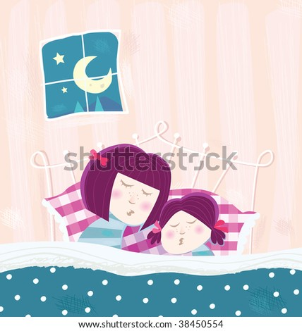 Sleeping mother and child. Mother and child are sleeping in bed during dark blue night. - stock photo