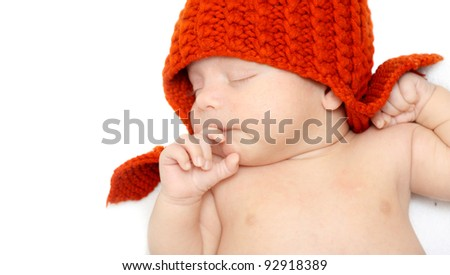 Sleeping Newborn Baby. - stock photo
