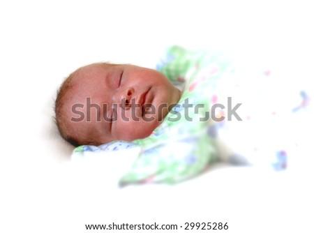 sleeping newborn baby on white background - stock photo