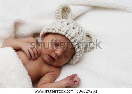 Sleeping Newborn With Hat - stock photo