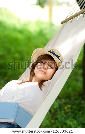 Sleeping on hammock - stock photo