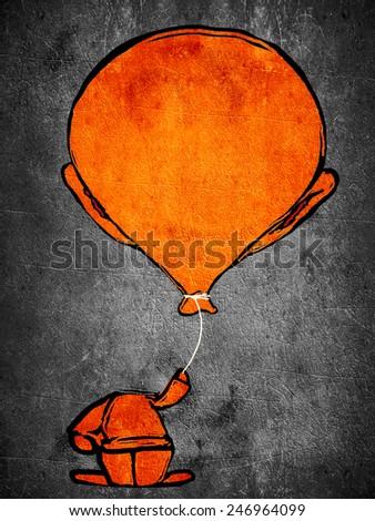 sleeping orange man with ballon head - stock photo