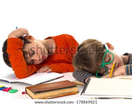 sleeping pupils, boring education - stock photo