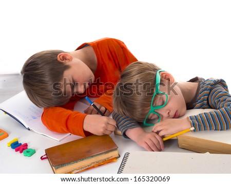 sleeping pupils, partly isolated, boring education - stock photo