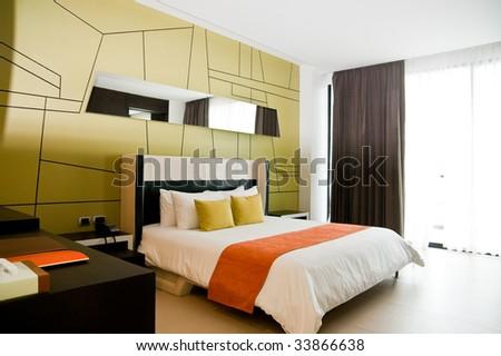 Sleeping room in a hotel - stock photo