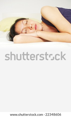 sleeping with space below - stock photo