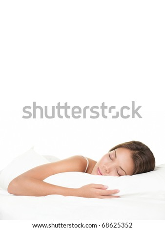 Sleeping woman. Asian woman sleeping isolated on white background.BeautIful Mixed-race Asian / Caucasian female model with eyes closed. - stock photo