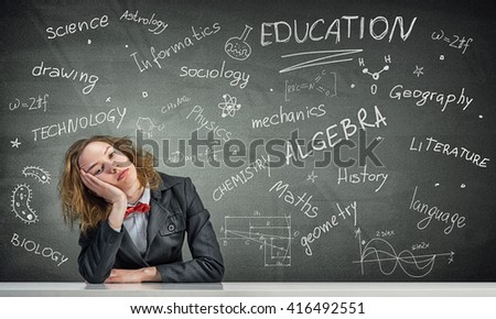 Sleeping woman in classroom