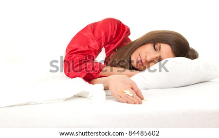 sleeping young woman sleeping in white bedding, series - stock photo