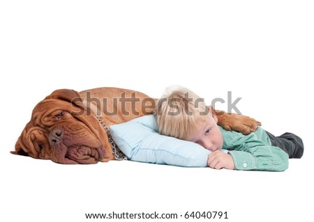Sleepy boy lying on the floor with his dogue de bordeaux - stock photo