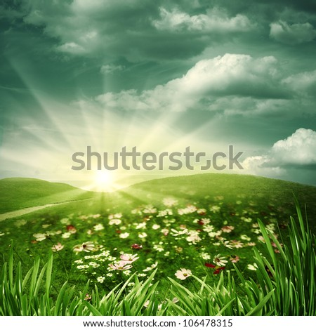 Sleepy hills. Abstract natural backgrounds - stock photo