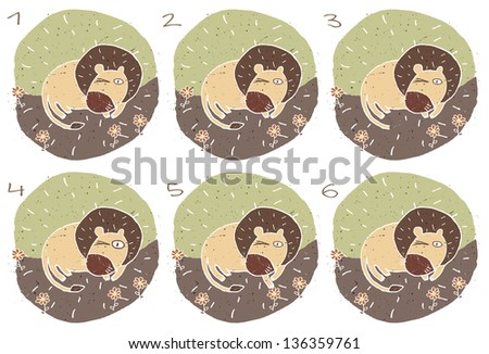 Sleepy Lion Visual Game for children. Task: Find two identical images (match the pair)! Answer: No. 1 and 6. (for vector see image 114705121) - stock photo