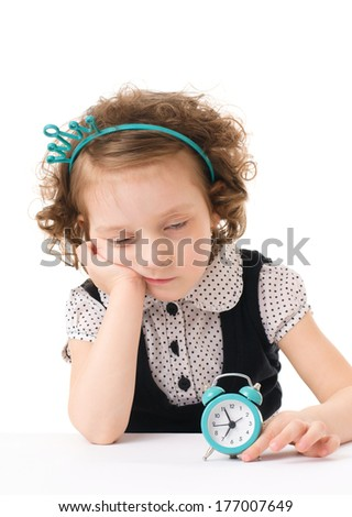 Sleepy little girl with wake up isolated on white background - stock photo
