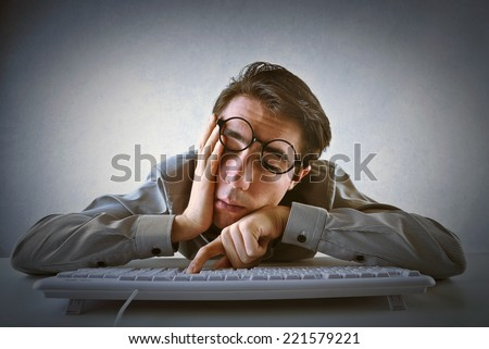 Sleepy worker  - stock photo