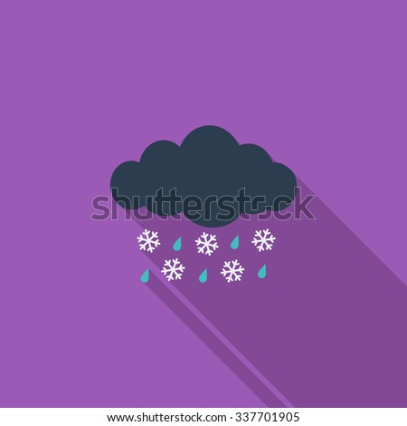 Sleet icon. Flat related icon with long shadow for web and mobile applications. It can be used as - logo, pictogram, icon, infographic element. Illustration. - stock photo