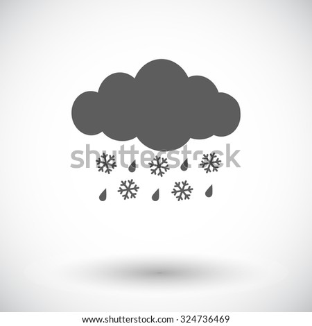 Sleet. Single flat icon on white background.  illustration. - stock photo