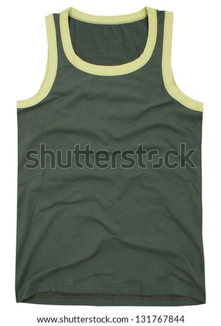 Sleeveless unisex shirt isolated on white background