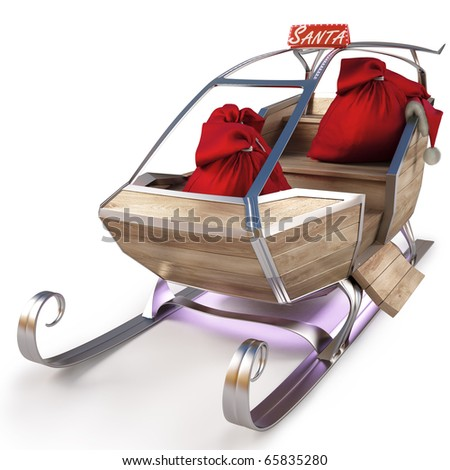 sleigh of Santa Claus with a bag of gifts. isolated on white including clipping path. - stock photo
