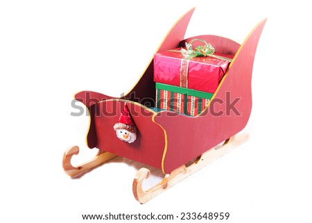 sleigh with gifts isolated - stock photo