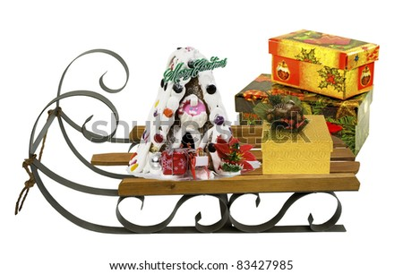 sleigh with present on a white background - stock photo