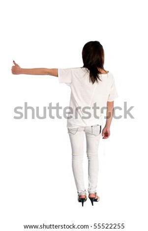 Slender girl in casual hitchhiking isolated photo over white background - stock photo