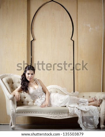 Slender woman in vintage dress