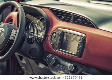 Sleza, Poland, August 15, 2015: Close up on Toyota cockpit and wheel on  Motorclassic show on August 15, 2015 in the Poland - stock photo