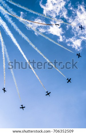 SLIAC, SLOVAKIA - AUGUST 27: Aerobatic display team Al Fursan at airshow SIAF 2017 on August 27, 2017 in Sliac