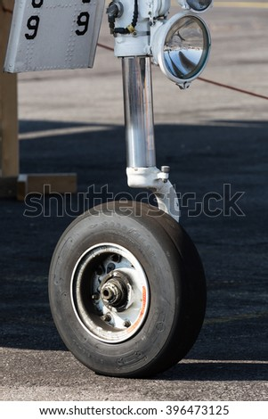 SLIAC, SLOVAKIA - AUGUST 30: Wheel of military aircraft closely at SIAF airshow in Sliac, Slovakia on August 30, 2015
