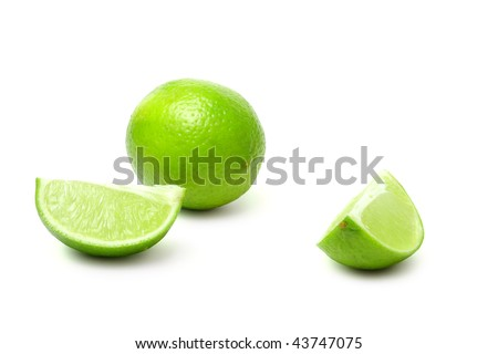 Slice and lime on white background (isolated) - stock photo