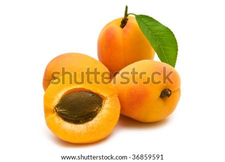 slice apricot on white background - stock photo