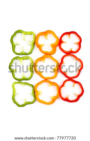 Slice Bell Pepper with white background - stock photo
