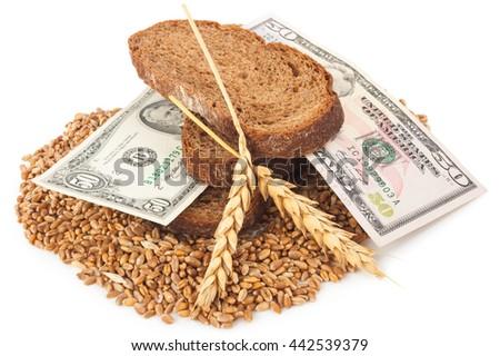 Slice bread with money - stock photo