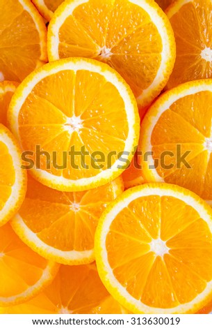 Slice fresh orange fruit background - stock photo