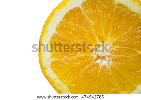 Slice fresh orange isolated on white background. Include clipping path.