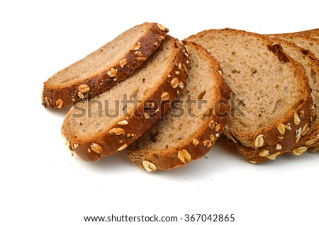 Slice grain bread isolated on white background - stock photo