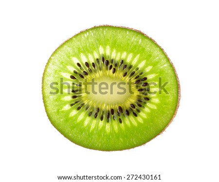 Slice kiwi fruit isolated on a white background. - stock photo