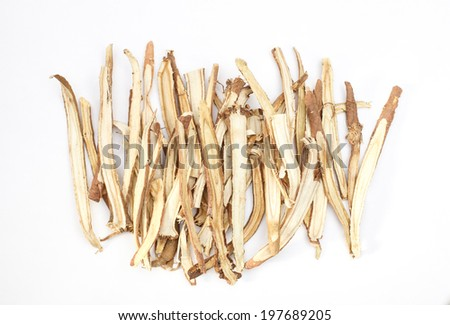 Slice liquorice roots the seasoning for cooking isolated on white background
