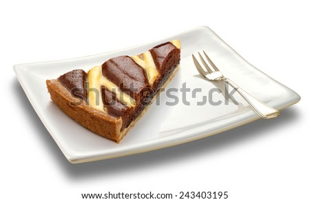 slice of a chocolate cake on white plate - stock photo